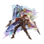 1boy androgynous animal_ears black_footwear black_gloves black_pants braid cape cat_ears closed_mouth dagger diamond_(shape) dual_wielding elbow_gloves erune french_braid full_body gloves granblue_fantasy hair_intakes hair_ornament holding holding_weapon hood hood_down knee_pads knife male_focus minaba_hideo official_art pants purple_hair quatre_(granblue_fantasy) sheath shoes sleeveless solo space standing star_(sky) transparent_background turtleneck unsheathed violet_eyes weapon