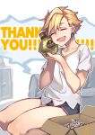 1girl :d black_footwear blonde_hair bottle box cardboard_box closed_eyes ear_piercing earrings facing_viewer happy highres holding holding_bottle jewelry leo_(reiga) mouth_drool open_mouth original piercing reiga_(act000) seiza short_hair short_shorts shorts sitting smile solo thank_you