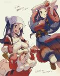 1girl akari_(pokemon) arms_up blue_hair blue_kimono blue_pants blush breasts brown_eyes closed_mouth collarbone commentary cowboy_shot eyelashes fur-trimmed_sleeves fur_trim gen_1_pokemon grey_background growlithe hakama head_scarf highres hisuian_form hisuian_growlithe holding holding_poke_ball holding_pokemon japanese_clothes jumping kimono long_hair looking_at_viewer looking_down medium_breasts multiple_views obi one_eye_closed open_mouth pants poke_ball poke_ball_(basic) pokemon pokemon_(creature) pokemon_(game) pokemon_legends:_arceus ponytail red_kimono sarashi sash shuri_(84k) sidelocks simple_background smile tongue tongue_out translated twitter_username v wide_sleeves