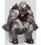 1boy 5cm_housamo absurdres animal_ears arknights black_tank_top book chain_necklace coat coat_on_shoulders covered_abs dog_tags full_body furry furry_male green_eyes highres holding holding_book looking_at_viewer male_focus mountain_(arknights) muscular muscular_male open_book pants pectorals scar scar_across_eye short_hair sitting solo tank_top thick_eyebrows tiger_boy tiger_ears white_fur white_hair white_pants