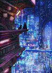 ambiguous_gender bridge building city cyberpunk dog highres light original pipes reason_(mark-of-the-unicorn) scenery silhouette sitting skyscraper television