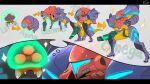 alpha_metroid arm_cannon cosplay english_text evolutionary_line gamma_metroid gravity_suit metroid metroid_(creature) power_armor power_suit samus_aran samus_aran_(cosplay) sparkle sweatdrop teke thought_bubble weapon zeta_metroid