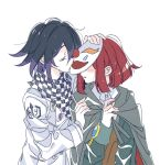 1boy 1girl black_hair blush_stickers brown_vest buttons cape checkered checkered_scarf closed_eyes collared_shirt commentary dangan_ronpa_(series) dangan_ronpa_v3:_killing_harmony double-breasted dress_shirt facing_another grey_cape grey_jacket hand_up jacket jingle_(mhb729) kiss long_sleeves mask multicolored_hair no_hat no_headwear open_mouth ouma_kokichi purple_hair redhead scarf shiny shiny_hair shirt short_hair simple_background straitjacket two-tone_hair upper_body vest white_background white_shirt yumeno_himiko
