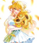1girl ;d bangs blonde_hair breasts commentary_request dega1028 double_bun dress eyebrows_visible_through_hair flower gradient_hair green_eyes hair_between_eyes hair_flower hair_ornament head_tilt highres holding holding_flower hololive long_hair looking_at_viewer medium_breasts momosuzu_nene multicolored_hair one_eye_closed open_mouth petals pink_hair see-through_sleeves short_sleeves simple_background smile solo streaked_hair sunflower two_side_up virtual_youtuber white_background white_dress white_flower yellow_flower