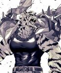 1boy animal_ears arknights belt black_belt black_tank_top chain_necklace chimi_(s8s8_bb) coat coat_on_shoulders debris fangs furry furry_male greyscale highres large_pectorals looking_to_the_side male_focus monochrome mountain_(arknights) muscular muscular_male open_mouth pectorals scar_on_arm short_hair solo tank_top tiger_boy tiger_ears upper_body wind
