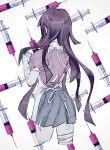 1girl apron bandaged_arm bandaged_leg bandages bangs cowboy_shot cropped_legs dangan_ronpa_(series) dangan_ronpa_2:_goodbye_despair from_behind grey_skirt hand_up highres long_hair pink_shirt pleated_skirt puffy_short_sleeves puffy_sleeves purple_hair sema_(vivaviva_02) shiny shiny_hair shirt short_sleeves simple_background skirt solo syringe tsumiki_mikan