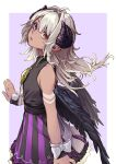 1girl absurdres amaryllis_gumi bare_shoulders bikini black_wings border bow closed_mouth cowboy_shot from_side grey_hair heterochromia highres horizontal_pupils horns looking_at_viewer looking_to_the_side parted_lips pointy_ears purple_bikini purple_skirt reiga_(act000) sanpaku shirt simple_background skirt solo standing striped striped_skirt swimsuit violet_eyes white_border white_bow wings wrist_bow yellow_eyes yotsutsuji_mayoi