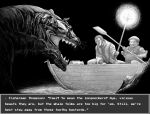 2boys boat english_text glasses greyscale highres holding holding_paddle holding_staff monochrome monster multiple_boys open_mouth original paddle parted_lips robe round_eyewear staff watercraft y_naf