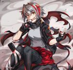 1girl antenna_hair arknights black_gloves black_jacket black_pants black_scarf commentary detonator dust_cloud feet_out_of_frame fingerless_gloves gloves graysheartart grey_hair grey_shirt hand_up highres holding_remote_control jacket leggings looking_at_viewer open_mouth orange_eyes pants red_nails red_skirt scar_on_arm scarf shirt short_hair sitting skirt sleeves_rolled_up smile solo twitter_username upper_teeth w_(arknights)