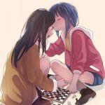 2girls black_hair blue_hair blush board_game brown_eyes chess chess_piece chessboard closed_eyes inuko_(ink0425) knight_(chess) long_hair multiple_girls open_mouth original pawn_(chess) sweatdrop yuri