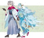 1boy 1girl aisutabetao azura_(fire_emblem) black_gloves blue_hair corrin_(fire_emblem) corrin_(fire_emblem)_(male) couple eye_contact fire_emblem fire_emblem_fates gloves headdress hetero highres holding_hands husband_and_wife japanese_clothes kimono long_hair looking_at_another manakete new_year platinum_blonde_hair pointy_ears red_eyes scarf smile textless very_long_hair yellow_eyes yukata