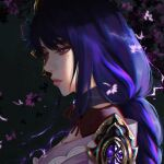 1girl archaicjack armor bangs black_background braid breasts closed_mouth commentary electricity english_commentary falling_petals flower from_side genshin_impact hair_ornament highres japanese_clothes kimono large_breasts long_hair mole mole_under_eye petals purple_flower purple_hair raiden_(genshin_impact) ribbon shoulder_armor simple_background solo violet_eyes