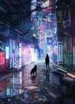 ambiguous_gender can city cyberpunk dog highres neon_lights original pipes power_lines puddle reason_(mark-of-the-unicorn) reflection scenery silhouette standing