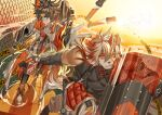 2boys aak_(arknights) animal_ears arknights arthurtng bangs bare_shoulders brown_fur cat_boy cat_ears dog_boy dog_ears fighting_stance furry furry_male highres holding holding_shield horns hung_(arknights) male_focus medium_hair multicolored_hair multiple_boys muscular muscular_male orange_eyes orange_hair pectorals shield single_horn smile streaked_hair throwing two-tone_fur white_fur white_hair