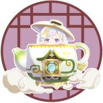 1girl absurdres architecture bangs coin_hair_ornament commentary_request east_asian_architecture eyebrows_visible_through_hair genshin_impact highres in_pot jiangshi long_hair looking_at_viewer ninoji ofuda peeking_out qiqi_(genshin_impact) serenitea_pot_(genshin_impact) sidelocks silver_hair simple_background solo teapot violet_eyes