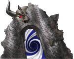 castle colored_skin demon english_text full_body gate grey_skin highres horns kazuma_kaneko official_art orcus_(shin_megami_tensei) red_eyes shin_megami_tensei sign solid_eyes solo transparent_background vortex