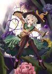 1girl absurdres arm_up black_footwear black_legwear blouse blue_flower blue_rose blurry blurry_background flower frilled_shirt_collar frilled_skirt frilled_sleeves frills full_body green_eyes green_hair green_skirt hat heart heart_of_string highres komeiji_koishi long_sleeves open_mouth outstretched_arms pink_flower pink_rose purple_flower purple_rose rose sanana_e shoes skirt solo thigh-highs third_eye touhou white_bloomers wide_sleeves yellow_blouse yellow_flower yellow_rose