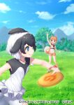 2girls afterimage animal_ears bike_shorts bike_shorts_under_skirt black_hair black_shirt blowhole blue_eyes brown_legwear brown_shorts brown_vest collared_shirt commerson's_dolphin_(kemono_friends) curled_tail dog_(kemono_friends) dog_ears dog_girl dog_tail dolphin_girl dorsal_fin eyebrows_visible_through_hair frisbee fur_trim harness jewelry kemono_friends kemono_friends_3 kemono_friends_3:_planet_tours light_brown_hair multicolored_hair multiple_girls necklace necktie official_art orange_eyes pensuke shirt short_shorts shorts skirt sleeveless socks tail throwing two-tone_hair two-tone_shirt vest white_fur white_hair white_shirt white_shorts white_skirt