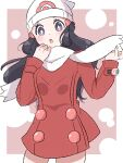 1girl :o beanie black_hair blush border bright_pupils coat commentary_request dawn_(pokemon) eyelashes grey_eyes hair_ornament hairclip hands_up hat highres long_hair long_sleeves open_mouth outside_border pokemon pokemon_(game) pokemon_dppt pokemon_platinum red_coat scarf solo takoyaki_(stelmo) white_border white_headwear white_pupils white_scarf