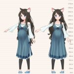 1girl aina_(mao_lian) animal_ear_fluff animal_ears blue_dress blue_eyes brown_hair cat_ears cat_tail closed_mouth dress height_chart highres leggings long_hair long_sleeves looking_at_viewer mao_lian_(nekokao) multiple_views navel off-shoulder_dress off_shoulder original pigeon-toed pregnant smile standing tail