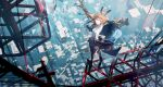 1girl absurdres amiya_(arknights) animal_ears arknights bangs black_footwear black_jacket black_legwear black_skirt blue_eyes bow bowtie broken_glass brown_hair cityscape crane_(machine) english_commentary glass high_ponytail highres jacket long_hair long_sleeves min_(120716) off_shoulder pleated_skirt rabbit_ears shirt skirt solo very_long_hair white_shirt
