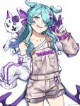 1girl aqua_eyes bangs blue_hair collarbone commentary cowboy_shot cross_hair_ornament dragon elira_pendora gloves graysheartart grey_overalls hair_ornament hair_over_one_eye highres long_hair long_sleeves looking_at_viewer nijisanji nijisanji_en off_shoulder one_eye_covered open_mouth overalls pikl_(elira_pendora) purple_gloves purple_shorts shorts simple_background single_bare_shoulder sleeves_past_fingers sleeves_past_wrists smile solo striped striped_shorts sweater teeth two-tone_gloves virtual_youtuber white_background white_gloves white_shorts white_sweater