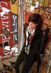 1boy against_wall bangs black_hair black_neckwear black_pants black_suit blood blood_on_clothes blood_on_face blood_on_weapon bob_cut brick_wall business_suit chainsaw_man collared_shirt covered_eyes cracked_wall extra_eyes feet_out_of_frame floating floating_object formal fox fox_devil_(chainsaw_man) gun gun_devil_(chainsaw_man) hair_over_eyes handgun hayakawa_aki_(chainsaw_man) highres hybrid injury leaning_back long_sleeves looking_at_viewer necktie neckwear nosebleed pants parted_lips pipes pistol railing rifle shirt short_hair sign solo spoilers standing suit wall weapon white_shirt x_eve