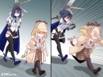 2girls 7m bangs blonde_hair blue_eyes blue_hair bow deerstalker detective eyebrows_visible_through_hair gloves hair_ornament hat holocouncil hololive hololive_english meme motion_lines multiple_girls necktie ouro_kronii pantyhose running shirt short_hair skirt stethoscope trench_coat virtual_youtuber watson_amelia white_shirt zipper