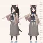 1girl aina_(mao_lian) animal_ear_fluff animal_ears black_sweater blue_eyes blue_footwear brown_hair capelet cat_ears cat_tail closed_mouth grey_capelet grey_skirt height_chart highres long_hair long_skirt looking_at_viewer mao_lian_(nekokao) multiple_views navel original pigeon-toed ribbed_sweater shoes skirt sleeveless sleeveless_sweater smile standing sweater tail
