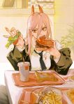 +_+ 1girl absurdres argentum_1121 bangs black_jacket black_neckwear black_pants breasts burger business_suit chainsaw_man collared_shirt crosshair_pupils cup demon_horns disposable_cup drinking_straw eating elbows_on_table facing_viewer fast_food fingernails food formal french_fries hair_behind_ear hair_between_eyes highres holding holding_food horns jacket ketchup lettuce long_hair long_sleeves necktie off_shoulder pants plate pov pov_across_table power_(chainsaw_man) red_eyes red_horns restaurant sharp_fingernails sharp_teeth shirt sitting solo stained_clothes suit table teeth tomato white_shirt