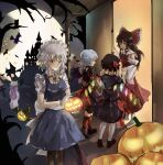 5girls absurdres alternate_costume bare_tree bat bat_wings black_legwear black_skirt blonde_hair bow broom broom_riding brown_footwear brown_hair collared_shirt eyebrows_visible_through_hair flandre_scarlet food from_behind full_moon gloves hair_bow hair_tubes hakurei_reimu halloween hat height_difference highres holding holding_food holding_pumpkin holding_vegetable izayoi_sakuya light_blue_hair long_hair maid maid_headdress mob_cap moon multiple_girls neck_ribbon no_shoes open_mouth patchouli_knowledge puffy_short_sleeves puffy_sleeves pumpkin purple_hair red_bow red_legwear red_neckwear red_ribbon remilia_scarlet ribbon ribbon-trimmed_skirt ribbon_trim sanana_e shirt short_sleeves siblings silver_hair sisters skirt standing touhou tree vegetable white_gloves white_legwear wings