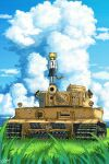 1girl animal_ears blonde_hair blue_sky caterpillar_tracks clouds grass green_eyes ground_vehicle hans_(pixiv_37537768) highres meadow military military_vehicle motor_vehicle original scenery short_hair signature skirt sky solo tail tank tiger_ears tiger_girl tiger_i tiger_tail