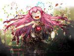 1girl damaged gears heart long_hair mechanical_parts megurine_luka music petals pink_hair singing vocaloid wander_last_(vocaloid)