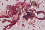 2girls asymmetrical_horns bare_shoulders blue_eyes center_frills circle_skirt color_connection corset curled_horns detached_collar detached_sleeves dragon_girl dragon_horns dragon_tail dress earrings elizabeth_bathory_(fate) elizabeth_bathory_(fate)_(all) fairy_knight_tristan_(fate) fate/grand_order fate_(series) finger_cots frills grey_eyes high_heels horns idol jewelry long_hair look-alike looking_at_viewer microphone multiple_girls one_eye_closed pink_hair plaid plaid_skirt platform_boots platform_footwear platform_heels pointy_ears red_dress red_nails ricmoo3 skirt tail