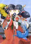 2girls black_hair blush gloves hinoa holding_hands japanese_clothes kimono ksk_(pixiv2154058) long_hair minoto monster_hunter monster_hunter_(series) monster_hunter_rise pointy_ears siblings twins