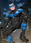 1boy batman_(series) black_bodysuit black_hair bodysuit boots closed_mouth dc_comics highres holding holding_weapon male_focus maorenc mask night night_sky nightwing outdoors sky smile solo spiky_hair toned toned_male weapon