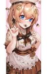 1girl :3 blue_eyes bow braid brown_hair checkerboard_cookie commentary cookie dano dress english_commentary fnc_(girls_frontline) food girls_frontline girls_frontline_neural_cloud hair_between_eyes hair_ornament hat highres long_hair looking_at_viewer mouth_hold pinky_out short_sleeves sidelocks solo