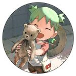 1girl :d brown_shorts circle closed_eyes commentary_request day eyebrows_visible_through_hair facing_viewer green_hair hat hat_around_neck hat_removed headwear_removed holding holding_stuffed_toy kento_matsuura koiwai_yotsuba medium_hair open_mouth outdoors pouch quad_tails raglan_sleeves red_sleeves road round_image shadow shirt short_shorts short_sleeves shorts smile solo straw_hat stuffed_animal stuffed_toy teddy_bear transparent_background wall white_bag white_shirt yotsubato!