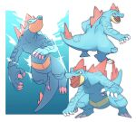 claws closed_mouth fangs fangs_out feraligatr gen_2_pokemon highres legs_apart looking_to_the_side morio_(poke_orio) multiple_views no_humans open_mouth pokemon pokemon_(creature) standing swimming symbol-only_commentary tongue yellow_eyes