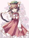 1girl animal_ear_fluff animal_ears artist_name bangs bow brown_eyes brown_hair cat_ears cat_tail chen commentary_request dress earrings eyebrows_visible_through_hair fang feet_out_of_frame floral_background flower flower_request gold_trim green_headwear hair_between_eyes hand_up haruwaka_064 hat heart heart_tail hibiscus highres jewelry light_blush long_sleeves looking_at_viewer mob_cap multiple_tails nekomata open_mouth paw_pose petticoat pink_background puffy_sleeves red_dress short_hair simple_background single_earring slit_pupils smile solo standing tail touhou two_tails white_bow white_neckwear yellow_bow