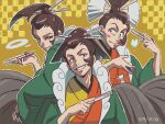 3boys :3 androgynous black_eyes black_hakama blush blush_stickers brown_hair bug butterfly checkered checkered_background closed_mouth commentary_request dated folding_fan grin gyakuten_saiban gyakuten_saiban_6 hair_bun hair_ornament hair_stick hakama half-closed_eyes hand_fan hand_up hands_up haori happy high_ponytail highres holding holding_fan insect japanese_clothes kimono long_sleeves looking_at_viewer male_focus multicolored multicolored_clothes multicolored_kimono multiple_boys multiple_persona outline senpuutei_bifuu shiny shiny_hair short_hair sidelocks simple_background smile smoke_ring standing teeth tiduco tied_hair upper_body white_outline wide_sleeves yellow_background