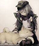 1girl 1other bandana closed_eyes commentary_request dog fluffy g11_(girls_frontline) girls_frontline grey_hair hat highres long_hair messy_hair petting resting shiba_inu smile suginakara_(user_ehfp8355) thigh-highs tongue tongue_out yellow_eyes