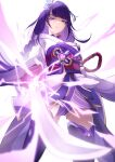 1girl absurdres armor bangs braid breasts coattails commentary_request electricity flower genshin_impact hair_ornament highres holding holding_sword holding_weapon japanese_clothes katana kimono long_hair looking_at_viewer mole mole_under_eye obi obiage obijime open_mouth purple_flower purple_hair raiden_(genshin_impact) ribbon sash shoulder_armor simple_background solo sword tassel thigh-highs thighs violet_eyes weapon white_background yutoriko_(candy0905)