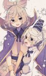2girls :d absurdres blush bracelet cape commentary_request cowboy_shot earmuffs eyebrows_visible_through_hair fang gold_trim grey_background hair_between_eyes haruwaka_064 hat highres holding holding_stick jewelry light_brown_hair long_hair looking_at_another looking_at_viewer mononobe_no_futo multiple_girls open_mouth pink_shirt pointy_hair pom_pom_(clothes) ponytail purple_cape ritual_baton shirt silver_hair simple_background sleeveless sleeveless_shirt smile sparkle stick tate_eboshi touhou toyosatomimi_no_miko upper_body violet_eyes