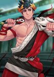 1boy belt black_hair blurry blurry_background green_eyes hades_(game) heterochromia highres holding holding_sword holding_weapon laurel_crown male_focus maorenc muscular muscular_male nipples pectorals short_hair single_bare_shoulder skull solo sword weapon wreath zagreus_(hades)