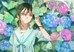 1girl arm_at_side blue_flower blue_neckwear blue_ribbon brown_hair collarbone commentary_request dress flower green_flower hair_between_eyes hand_up highres hydrangea leaf long_hair looking_away looking_to_the_side neck_ribbon original parted_lips pink_flower purple_flower qooo003 rain red_ribbon ribbon sailor_collar school_uniform serafuku short_sleeves solo tears upper_body white_dress white_sailor_collar wrist_ribbon