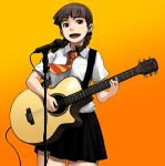 1girl :d acoustic_guitar black_skirt braid brown_hair collared_shirt cowboy_shot guitar hair_ornament hairclip highres holding holding_instrument holding_plectrum instrument looking_at_viewer low_twintails microphone microphone_stand miniskirt music necktie open_mouth orange_background original playing_instrument red_neckwear school_uniform shirt short_sleeves skirt smile solo striped striped_neckwear tachibana_roku twin_braids twintails white_shirt wing_collar