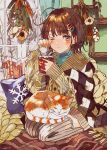 1girl ahoge animal_on_lap aqua_shirt aran_sweater bare_tree beige_sweater blush brown_eyes brown_hair cable_knit cat cat_on_lap checkered closed_mouth commentary_request cup curtains cushion eyebrows_visible_through_hair fingernails flower food full_body grey_legwear hair_ornament hairclip hands_up highres holding holding_cup indoors long_sleeves looking_at_viewer marshmallow medium_hair messy_hair mug one_eye_closed orange_cat original picture_frame poncho qooo003 ribbed_legwear rubbing_eyes seiza shirt sitting sleeves_past_wrists snowflake_print solo split_mouth steam sweater thigh-highs tree turtleneck wall white_cat white_flower window