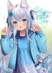 >_< :d :o animal_ear_fluff animal_ears aqua_eyes chibi claw_pose commission expressionless flower goma_(u_p) gradient_hair hair_flower hair_ornament hair_ribbon hood hoodie light_blue_hair long_hair long_sleeves looking_at_viewer multicolored_hair open_clothes open_hoodie open_mouth original ribbon silver_hair skeb_commission skirt smile streaked_hair tabard twintails very_long_hair
