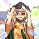 1girl amulet arms_up bandaid bangs black_headwear blonde_hair brown_headwear cape constellation constellation_print danmaku detached_sleeves door eyebrows_visible_through_hair eyes_visible_through_hair green_skirt hair_between_eyes hands_on_headwear hands_up hat highres long_hair long_sleeves looking_to_the_side matara_okina open_mouth orange_cape orange_sleeves red_eyes shaded_face shirt sitting skirt solo touhou white_background white_shirt wide_sleeves yu_cha